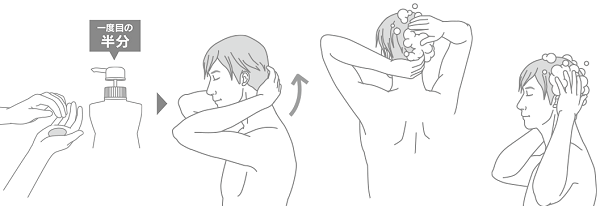 STEP5.2度目のシャンプーは頭皮全体をマッサージ洗いする